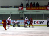The ice hockey game vehemence carry on