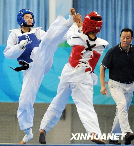 中国跆拳道队进行模拟奥运会公开训练赛