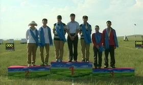 2014射箭奥项赛团体颁奖仪式