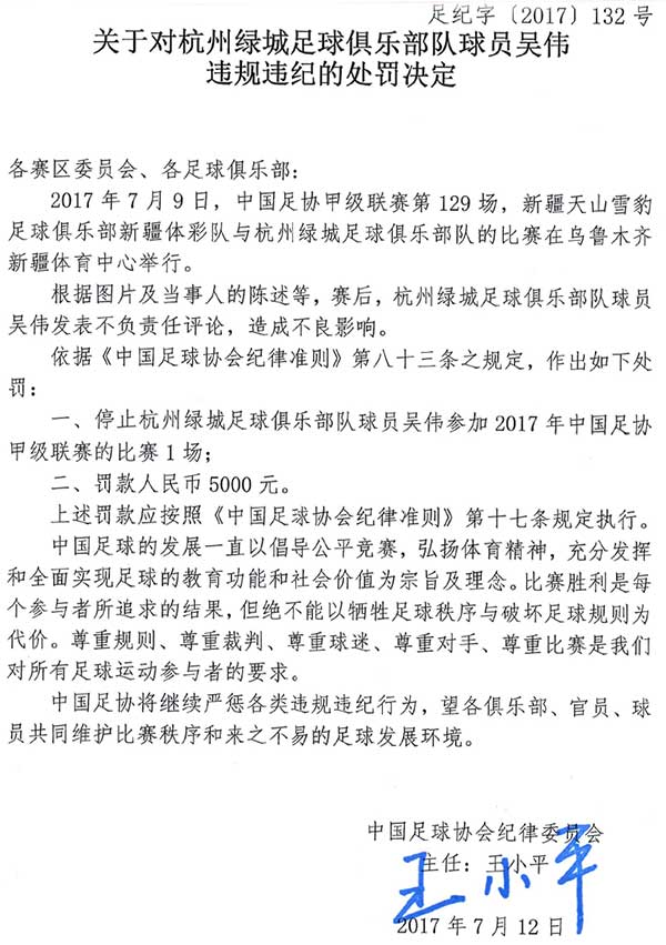 关于对杭州绿城球员吴伟违规违纪的处罚决定