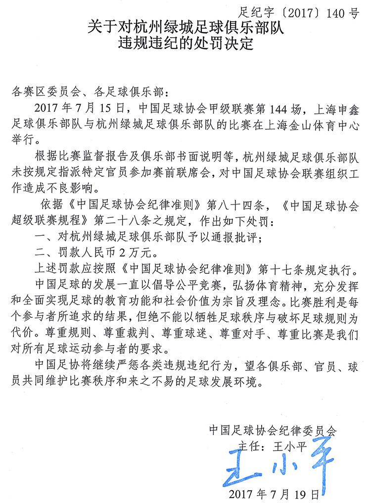 关于对杭州绿城违规违纪的处罚决定