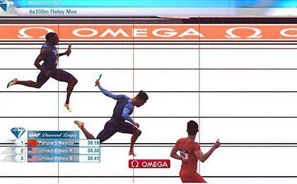钻石联赛摩纳哥站 中国百米接力击败美国队夺冠
