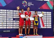 【亚运快报】山地车女子越野赛 中国自行车队包揽冠亚军