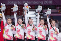 中国队获得亚运会女子团体冠军