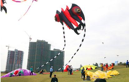 全国风筝精英赛总决赛为绿水青山添美景