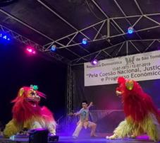 中国龙狮舞团惊艳亮相非洲岛国